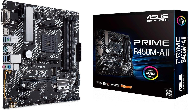 Asus Prime B450M-A II - Placa Base Micro-ATX AMD B450 Ryzen AM4 con Soporte M.2, HDMI/DVI/D-Sub, SATA 6 Gbps, 1 GB Ethernet, USB 3.2 Gen 2 de Tipo A, BIOS Flashback y Aura Sync RGB