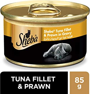 SHEBA Flaked Tuna Topped with Salmon Cat Food, 24 x 85g