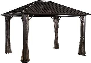 Sojag 12' x 16' Genova Hardtop Gazebo 4-Season Outdoor Shelter with Mosquito Net, Black,Brown