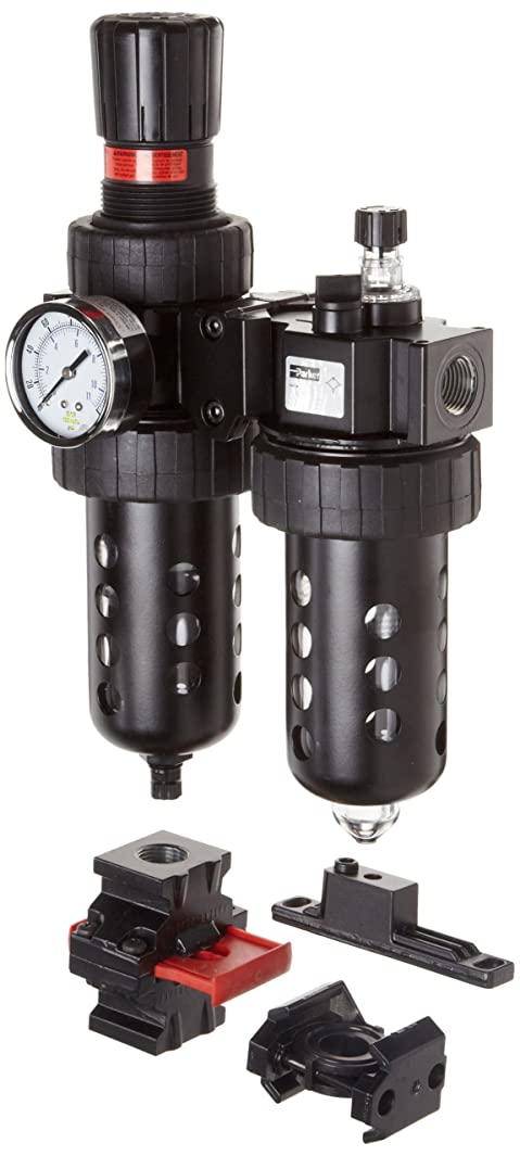 Parker 07H42A18A2BDC Two-Unit Combo Compressed Air Filter/Regulator/Lubricator, 3/4