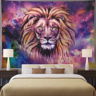 Ameyahud Lion Tapestry Starry Sky Lion Tapestries Hippie Bohemian Animal Wall Hanging Tapestry Galaxy Vivid 3D Print African Lion Wall Tapestry for Living Room Bedroom Dorm Decor