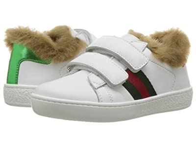 Gucci Kids New Ace Faux Fur Sneaker (Toddler) Kids Shoes