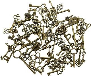 comprar comparacion 69 piezas Mezcla de Bronce Antiguo Esqueleto de La Vendimia Encantos Clave Diy Collar Colgante para Fabricación de Joyas H...