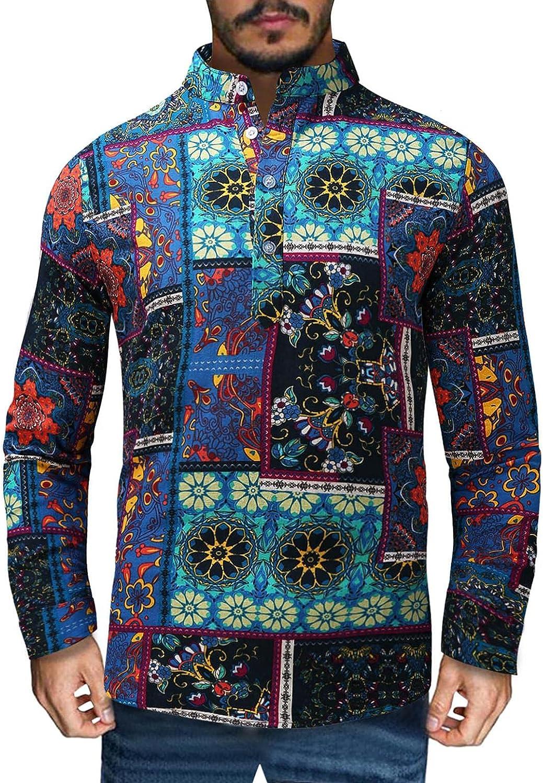 Huangse Men's African Dashiki Print Shirt Long Sleeve Button Down Shirt Bright Color Tribal Top Henley Shirts