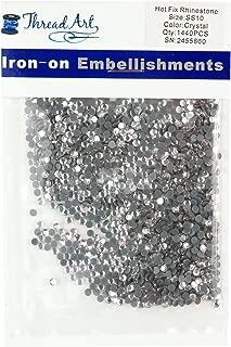 Threadart SS10 (3mm) Crystal Hot Fix Rhinestones 10 Gross (1440/pkg) Hotfix - Iron on - 32 colors 4 Sizes