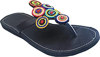 Bohemian Sandals, flip Flop Slide Women's Sandals, Flat Comfy Jeweled Brown Sandalias de Mujer (Brown Circles)