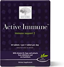 New Nordic Active Immune | Daily Immunity Supplement | Elderberry Hops Sea Buckthorn | Swedish Made | 30 Count