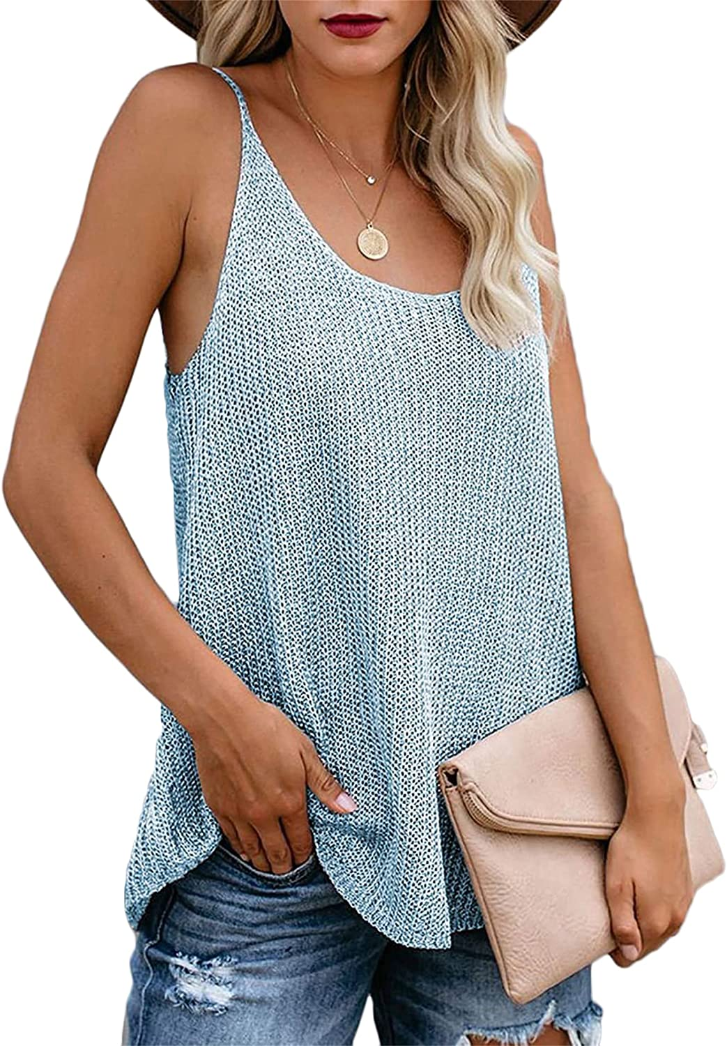Andongnywell Womens Sleeveless Round Neck Sweater Vest Summer Fall Tank Tops Knit Loose Cami Shirts Blouses Vests