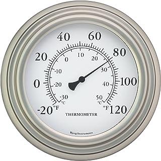 "Bjerg Instruments 8"" Satin Nickel Finish Decorative Indoor/Outdoor Thermometer"