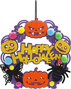 Athoinsu Happy Halloween Wreath Hanging Decoration with Spider Pumpkin for Wall Front Door Ornaments Costume Party Supplies, Purple, 11.5''