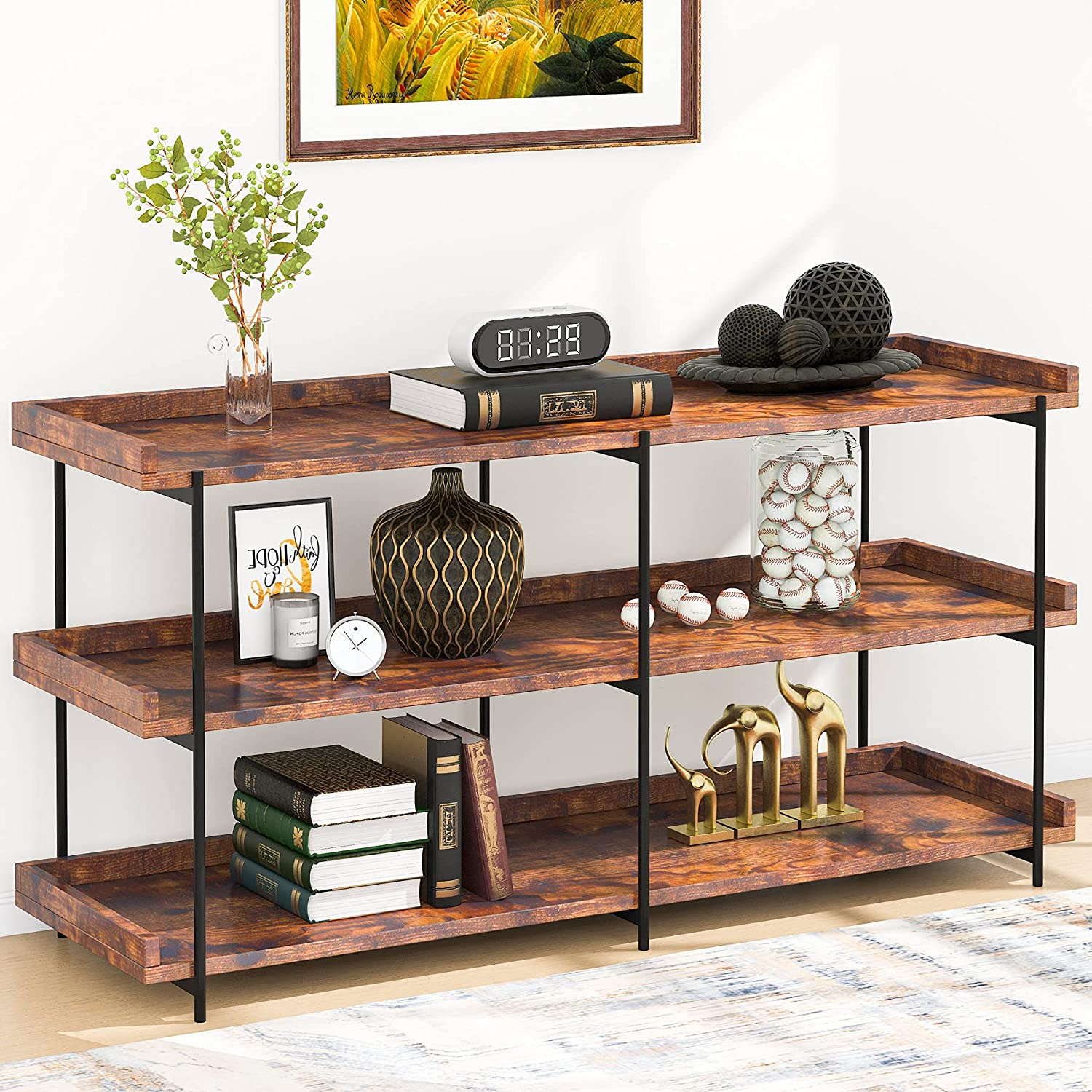Tribesigns Industrial Sofa Console Table, 20 Inches Entryway Table with  Storage Shelves, 20 Tier Shelf TV Stand for Entryway, Hallway, Living Room,  ...