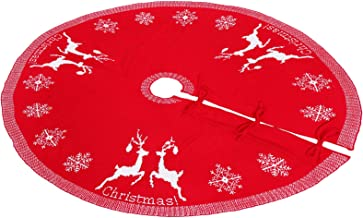 Hemobllo Christmas Tree Skirt Large Deer Snowflake Tree Skirt Christmas Tree Apron Cover Rug Carpet for Holiday Under Chri...