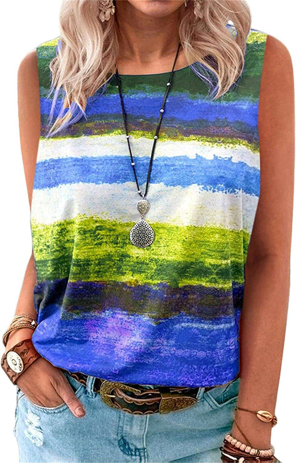 Andongnywell Women's Gradient Contrast Tie Dye Printed Tank Tops Loose Casual Sleeveless Shirts Blouse T Shirts