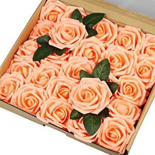 Vlovelife 25pcs Champagne Roses Artificial Flowers Real Looking Fake Roses w/Stem for DIY Wedding Bouquets Centerpieces Arrangements Birthday Baby Shower Home Party Decorations 3'' Rose