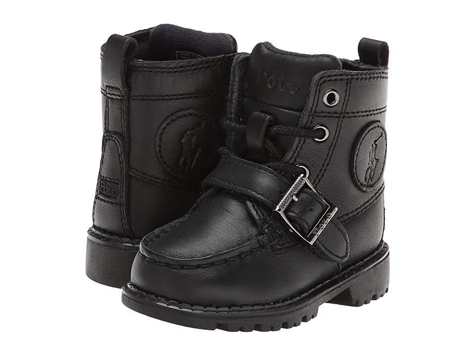 Polo Ralph Lauren Kids Ranger Hi II (Toddler) (Black Leather) Boys Shoes