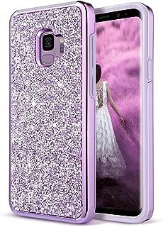 UrbanDrama Case for Galaxy S9, Sparkly Rhinestone Dual Layer Heavy Duty Shockproof HardPC SoftTPU Bumper ProtectiveCase Compatible for Samsung Galaxy S9 5.8 Inch, Purple