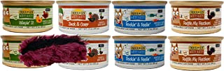 Witty Kitty Grain Free Kitten & Adult Cat 4 Flavor Variety 8 Can Bundle with Toy, 2 Each: Wingin' It, Duck & Cover, Rockin' & Reelin', Ruffle My Feathers (3 Ounces)