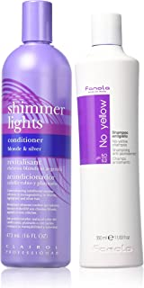 Fanola No yellow shampoo (350ml) and Clariol Shimmer light conditioner For blonde hair