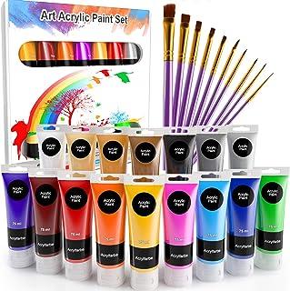 WOSTOO Acrylique 26 pcs Peinture Acryliques 16 x 75ml Tube +10 Pinceaux Tubes de Peinture Acrylique Couleurs Brillantes et...
