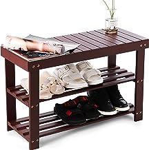 HYNAWIN Bamboo Shoe Rack Bench Three Tier Shoe Organizer Storage Shelf Seat Holder Home Entryway Hallway Furniture