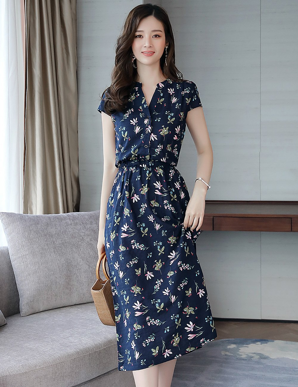 Fanru 梵如 女式 韩版修身印花圆领裙子短袖显瘦波西米亚沙滩裙夏季时尚优雅甜美连衣裙 F178-1837W