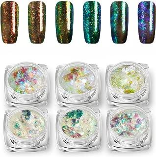 Vrenmol 6 Colors Chameleon Podwer Flakes Nail Art Glitter Magic Colorful Pigment Manicure Set