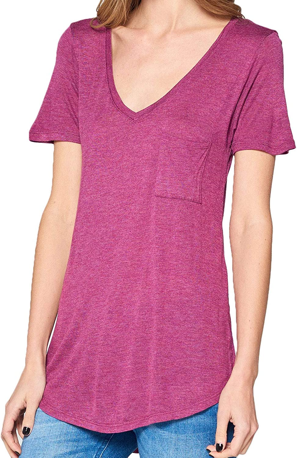 Tresics Womens VNeck Boyfriend T with Front Pocket and Low Shirt Tail TShirt