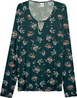 Blusa Lecimar Plus em Viscose com Elastano Inverno Floral Dark