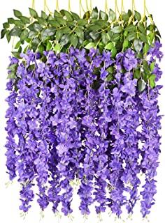 6 Pack 3.75 Feet/Piece Artificial Fake Wisteria Vine Ratta Hanging Garland Silk Flowers String Home Party Wedding Decor (Purple)