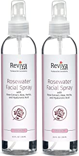 Reviva Labs Rosewater Facial Spray with Aloe, Herbs and Hyaluronic Acid, 8 ounce (Pack of 2)