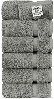 Chakir Turkish Linens Hotel & Spa Quality, Highly Absorbent 100% Cotton Hand Towels (6 Pack, Gray)