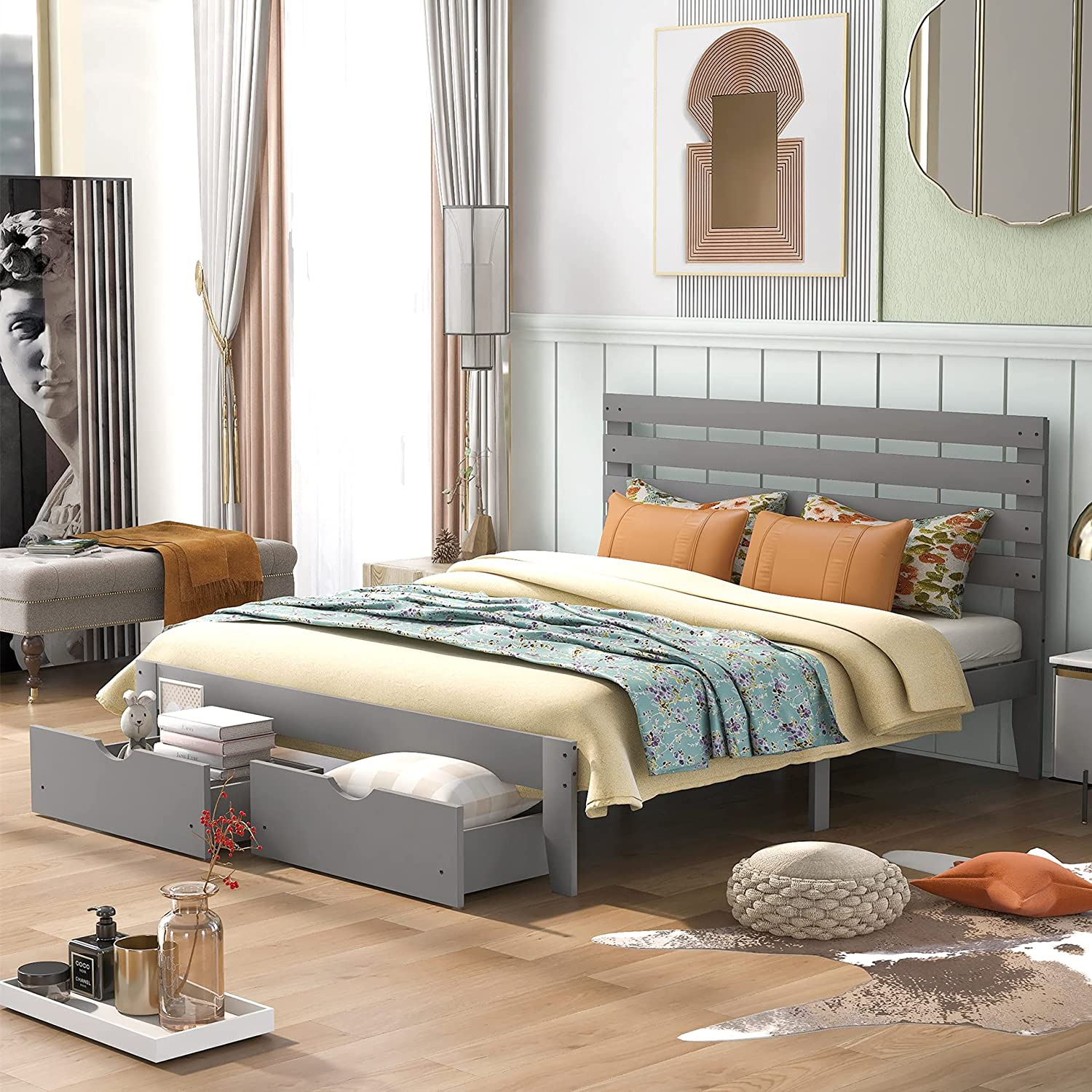 Queen Bed National uniform free shipping OFFicial site Frame with W Drawers Headboard