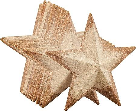 未完成的木质半 3D 星星 - 12 件装平面三维木星星,木质镂空,星形木块,用于手工 DIY 课堂项目,圣诞树,派对,家居装饰,4.5 x 4.5 x 1 英寸