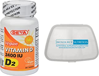 Biosource Nutrition Pill Pack in Bundle with Vegan Vitamin D 2400 IU 90 Tablets by Deva Nutrition