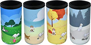 CM Soft Neoprene Slim Can Sleeves Insulators Slim Can Covers for 12 Fluid Ounce Energy Drink & Beer Cans, Seasons Pattern with Dogs, 4 Pcs
