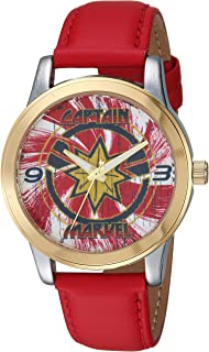 Marvel Men's Captain Analog-Quartz Watch with Leather-Synthetic Strap, red, 17.8 (Model: WMA000322)