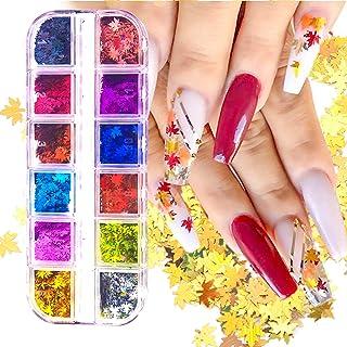 SAVITA 12 Kleuren Blad Nagel Glitter Pailletten, Esdoornblad Holografische Glitter Nagelkunst Sticker Manicure Nagelkunst ...