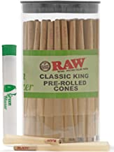 Raw Pre-Rolled Cones Classic King: 100 Pack - King Size Rolling Papers with Filter Tips - All Natural Slow Burning RAW Cone - Includes Green Blazer Doob Tube