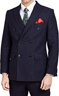 Dobell Mens Navy Suit Jacket Tailored Fit Notch Lapel Double Breasted Chalk Stripe