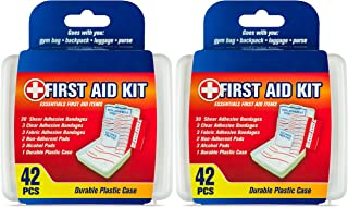DecorRack First Aid Kit, Small Travel Size Kit, First Aid Patch with 42 Items, Durable Plastic Box Perfect for Car, Home, ...