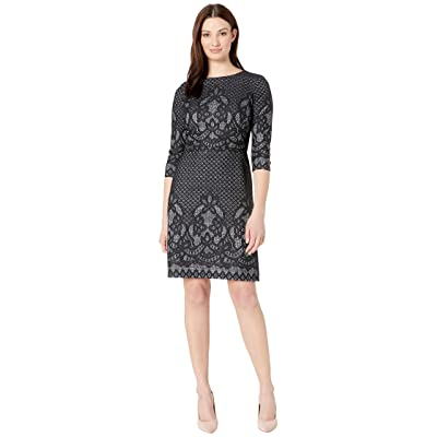 Gabby Skye Bonded Lace Pattern Dress (Black/Ivory) Women