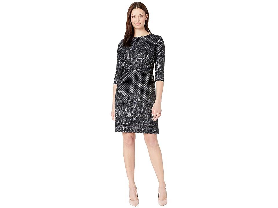 Gabby Skye Bonded Lace Pattern Dress (Black/Ivory) Women
