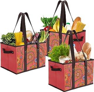 Foraineam 3 Stück Einkaufstasche Faltbar Groß Einkaufskorb Wiederverwendbar Einkaufstüten für Lebensmittel Gemüse Picknick...