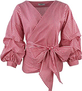 AOMEI Women Spring Summer Blouses with Puff Sleeve Sashes Shirts Tops