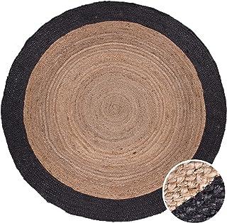 Vloerkleed Rond Woonkamer Jute Boho Ethno Handgemaakt Natuurlijk Vloerkleed, Maat:Ø 160 cm rondje, Kleur:Zwart