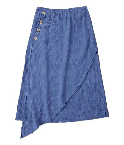 Mod-o-doc Double Layer Gauze Midi Skirt with Faux Wrap Front (Indigo Ink) Women