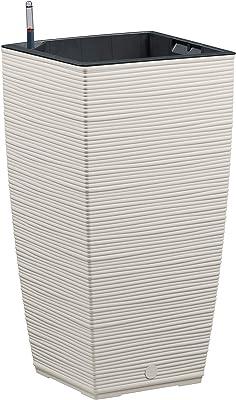 Emsa Casa Cosy 518507 Macetero en Columna, Gris Seda, 30 x 30 x 58 cm