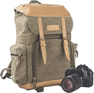 TARION Camera Bag Backpack Vintage Canvas with Waterproof Rain Cover f...