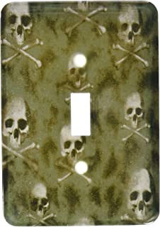 3dRose LLC lsp_60477_1 Black Skulls On Camouflage Single Toggle Switch