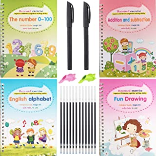 Magic Practice Copybook for Kids, Magic Pens & Refills, Reusable Children's Calligraphy Letter Tracing Paper Mathematical ...